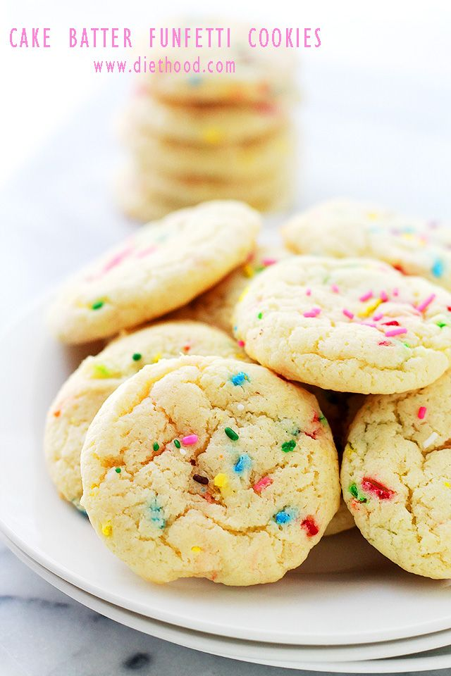 Cake Batter Funfetti Cookies   www.diethood.com   Soft, perfectly fluffy cookies made with a cake mix and sprinkles!   #cookies #food #recipes
