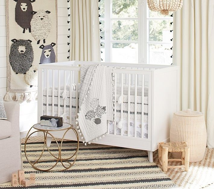 Pottery Barn Kids Organic Sleepy Sheep Nursery Bumper Set: Bumper, Crib Fitted Sheet, Crib Skirt