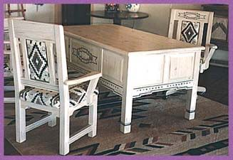 Tesuque Desk & Chairs - Custom Southwestern Office Furniture - Contempoary Southwest by Grazier - Handmade Santa Fe Style Office Furniture, Custom Office Furniture, Southwestern Desks