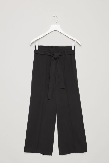 COS image 2 of Belted high-waist trousers in Black