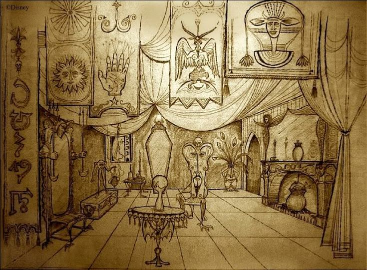 Concept Art for the Haunted Mansion by Ken Anderson