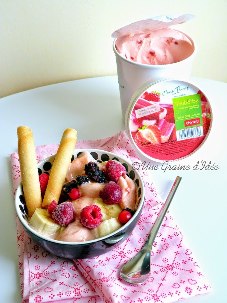 Coupe glac e banane rhubarbe fruits rouges une graine - Graine de rhubarbe ...