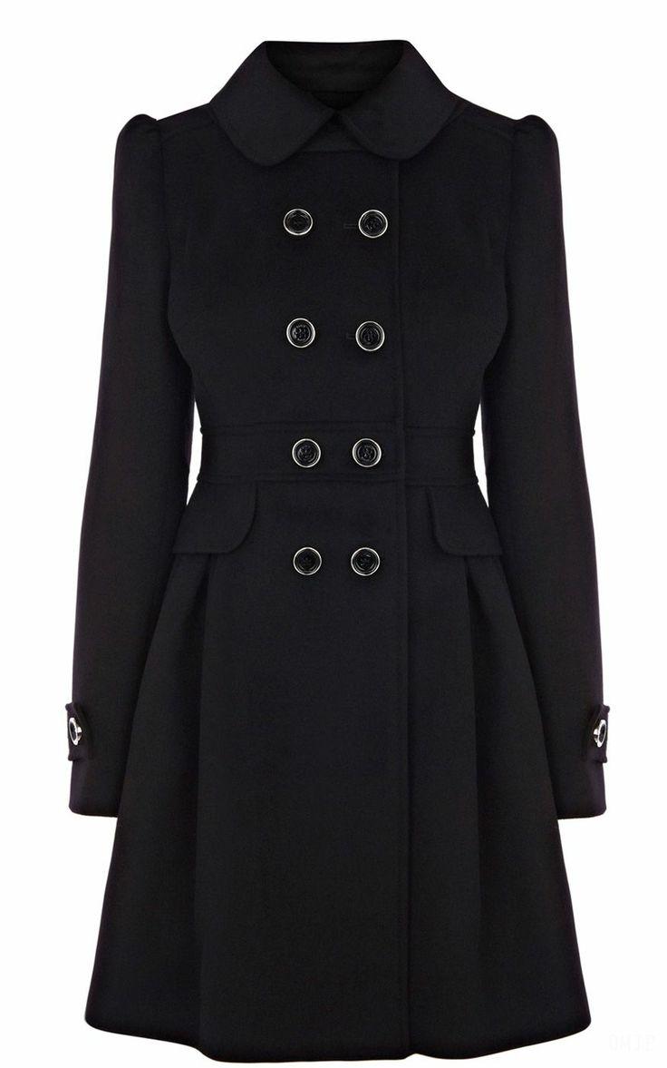 2013 Latest Karen Millen Classic investment coat Black  Model: #2013KM11