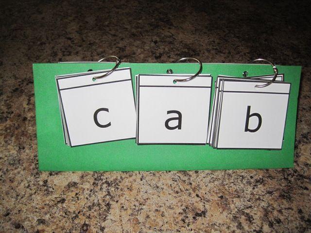 Phonics word building flip cards