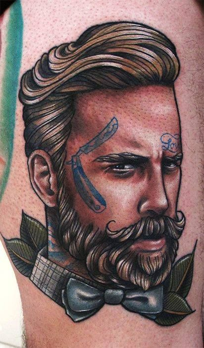 Roza Sake Tattoo Crew - beard mustache man tattoos bowtie switchblade beards beaded idea ideas ink design designs art