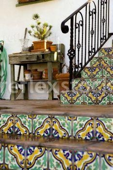 Mexican Handmade Tiled Stairs #staircase #stairs #tile #riser #Mexican #Spanish #Hacienda #iron
