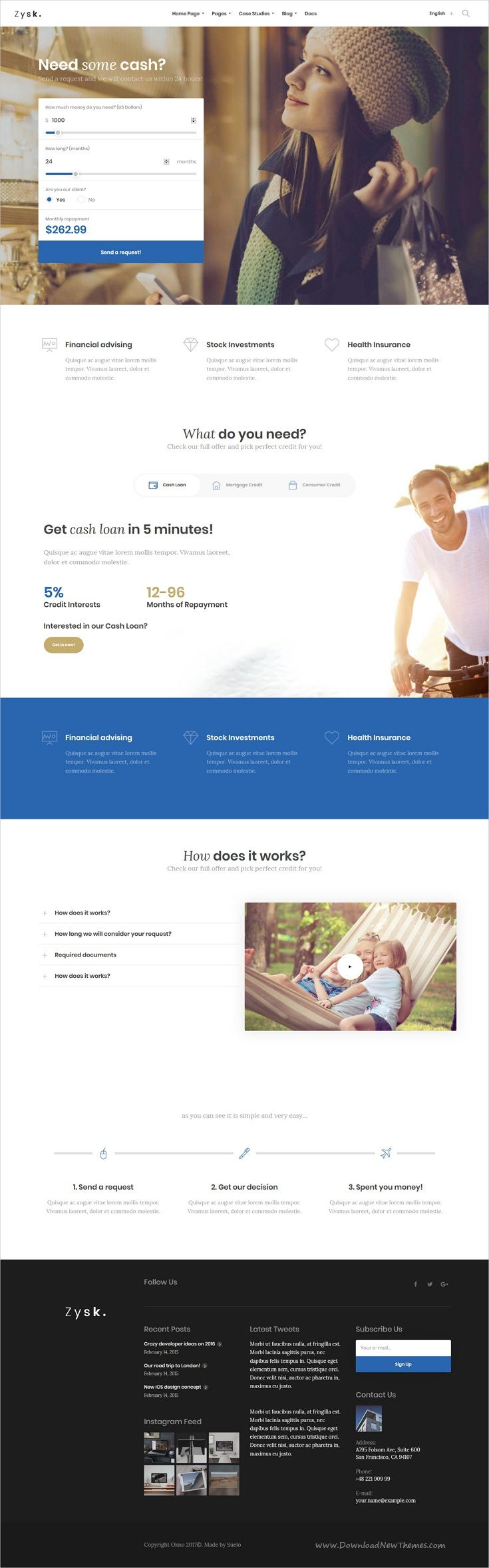 Zysk is smooth and stylish 7in1 responsive #WordPress theme for #loan #credit #investment business, finance and consulting services professional website download now..