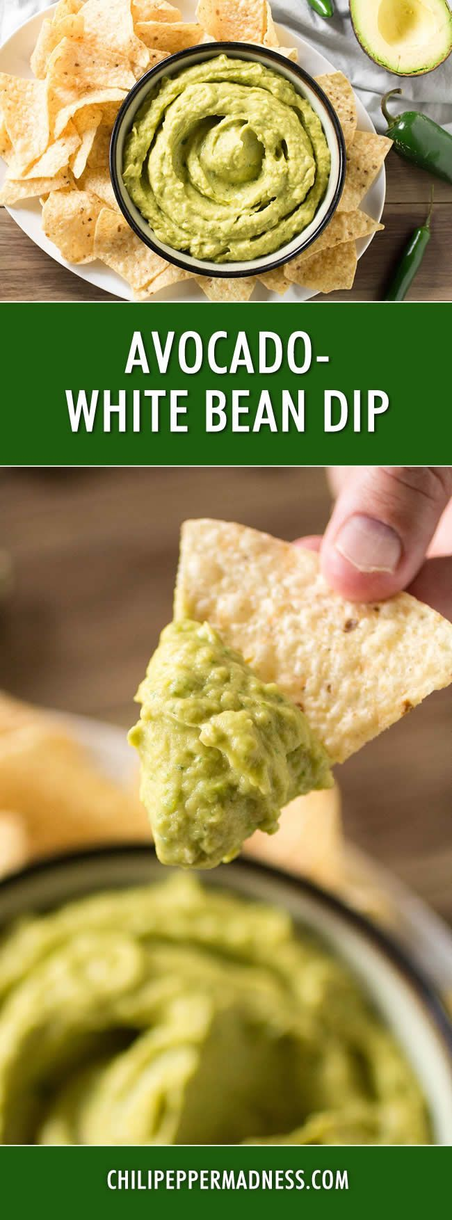 Avocado-White Bean Dip - This spicy bean dip recipe made with white beans and avocado is so creamy, you might be forgiven to think it is the next big thing in guacamole. Quick and easy, perfect for last-minute party apps.