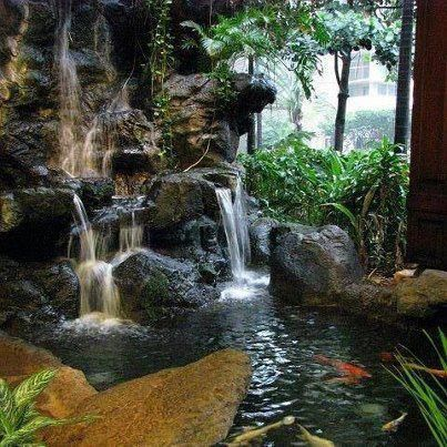 Serene rock waterfall pond beauty art of nature for Rock waterfall pond