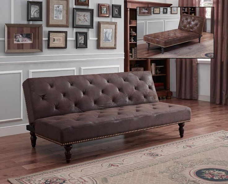 New Cheap Vintage Classic Antique Brown Pu Suede Leather Chaise Longue Sofa Bed