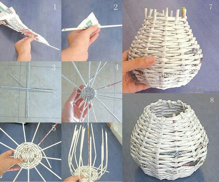 Basket woven from old magazines and newspapers. Diy upcycled reuse