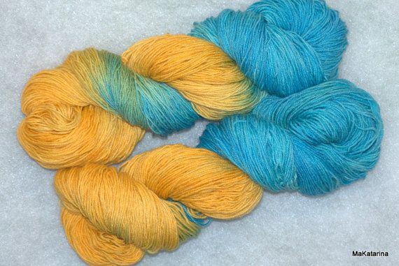 Hand dyed yarn yellow blue yarn handpainted by MaKatarinaCorner