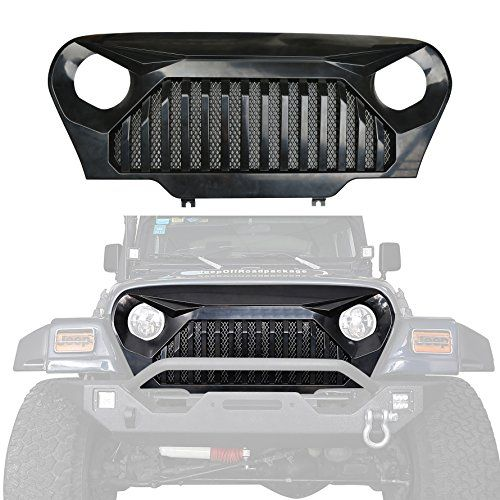 Black Front Gladiator Grille,u-Box Vander Grill w/ Mesh Insert for 1997-2006 Jeep Wrangler TJ & Unlimited  Fits for Jeep Wrangler TJ 1997-2006  Smooth black finish,rugged Off-Road styling  Durable automotive grade ABS construction  No messy glue or drilling is required for installation  2 Year Manufacturer's Warranty