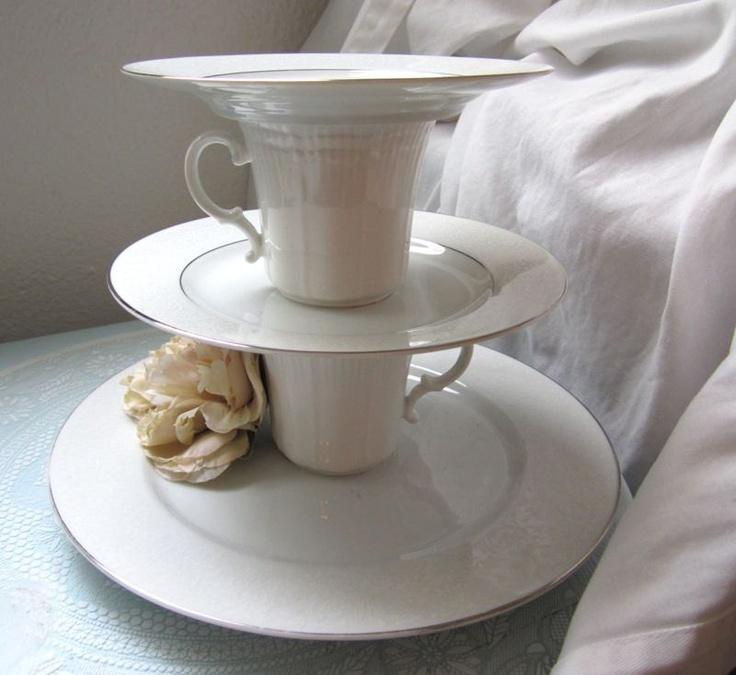 Bridal White and Silver Trim Tiered Cupcake Stand | Etsy Shop: ElleDeeNOLA | $24