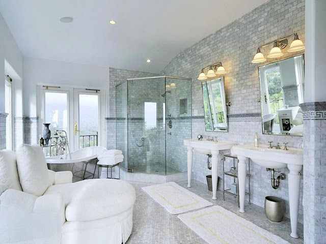 carrera marble bathroom with a chaise to lounge on after a soothing tranquil bath  {aem}