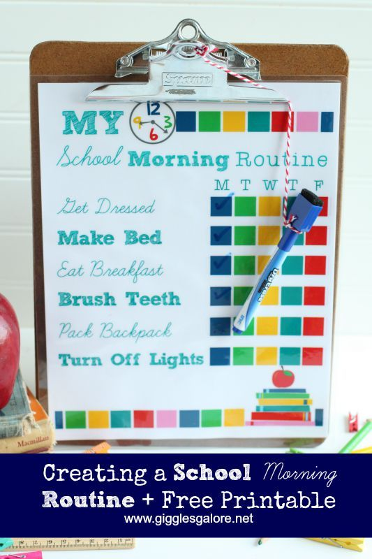 Back to School Morning Routine Checklist. Make those hectic mornings run smoother with this free printable.