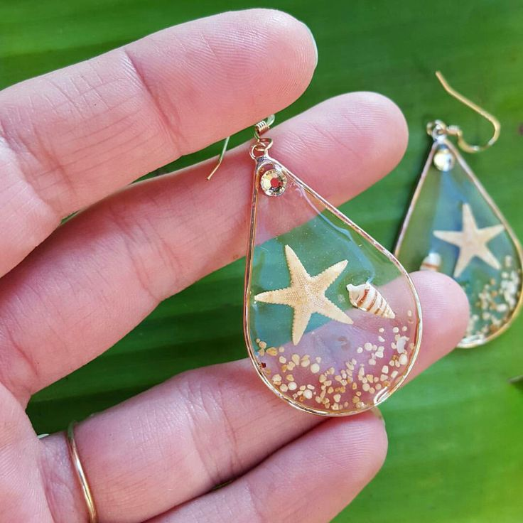 Resin seashell earrings