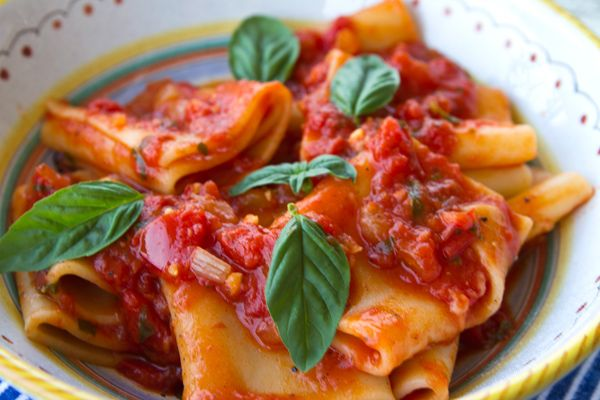 Italian Food Forever » Paccheri With Fresh & Canned Tomato Sauce