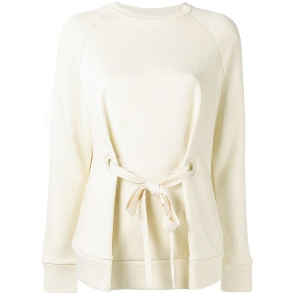 Joseph belted blouse ($200) ❤ liked on Polyvore featuring tops, blouses, beige, belted top, cotton blouse, white top, beige blouse and beige top