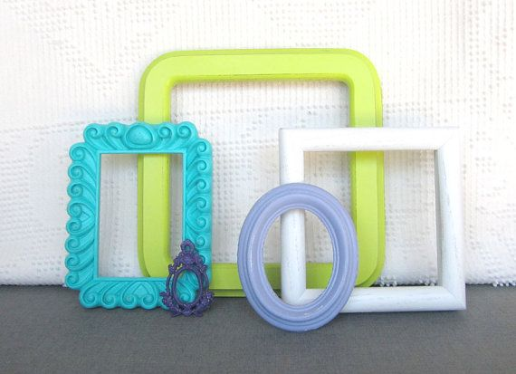 Purple Lilac Turquoise Lime Green and White Frames Set of 5 - Upcycled Frames Dorm Room Teenage Bedroom Modern Bedroom Decor on Etsy, $40.00