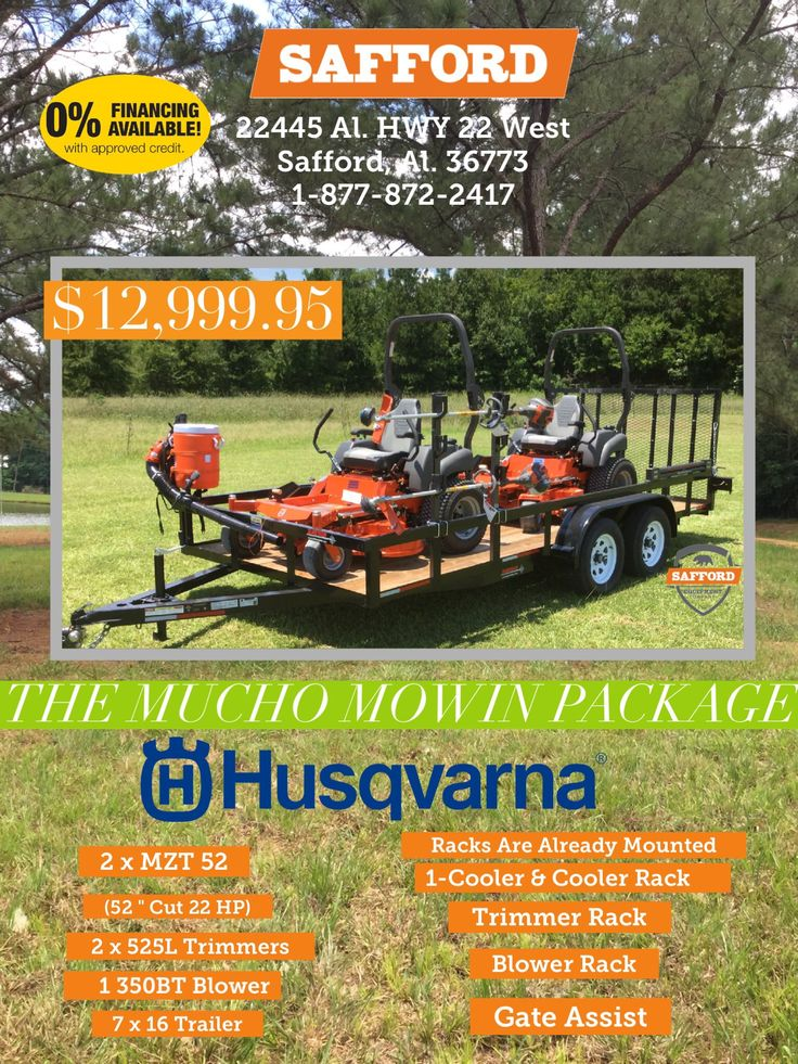 Safford Equipment has the best deals around on Lawn Tractors, Zero Turns, outdoor lawn equipment, Handhelds and more! Take a drive to Safford Alabama for your package deal! Where customer service still exist #husqvarna #zeroturns #lawntractor #handhelds #alabamahusqvarnadealer