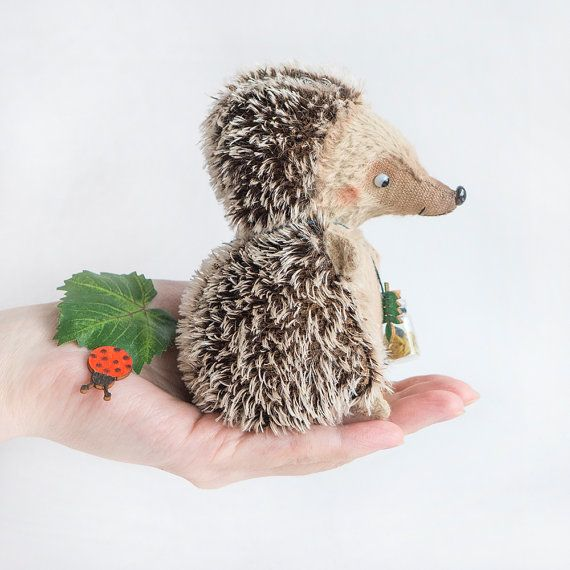 Hedgehog with ladybug  12cm by KittyAprilHandmade on Etsy