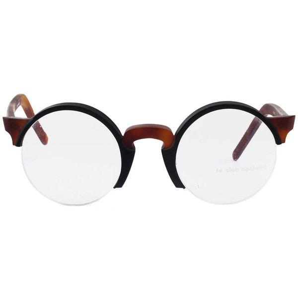 Vintage Le Club Optique Round Black/Tortoise Shell Eyeglasses ($105) ❤ liked on Polyvore