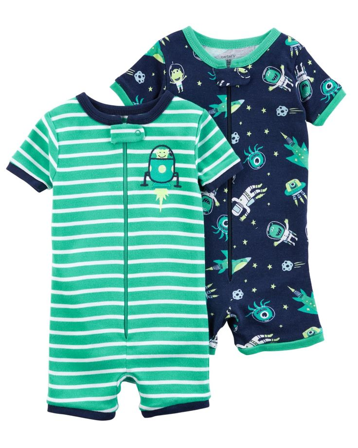 Baby Boy 2-Pack Zip-Up Snug Fit Cotton Romper PJs | Carters.com
