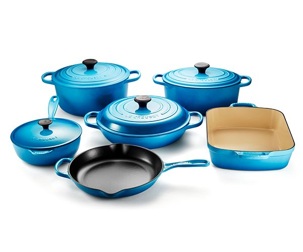 Build a timeless collection of enamelled cast iron cookware with Le Creuset's Cast Iron 10 Piece Set. Whether starting from scratch or adding to an existing collection, this set adds versatility to any kitchen. The set includes a 6.7 L Round French Oven, 4.7 L Oval French Oven, 3.2 L Braiser, 2 L Saucier, 26 cm Iron Handle Skillet and 4.9 L Rectangular Roaster.   [tabgroup title=