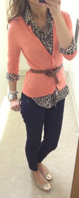 I think I really would like to try a leopard print of some sort, at some point. I especially love it paired with peach and the brown belt.