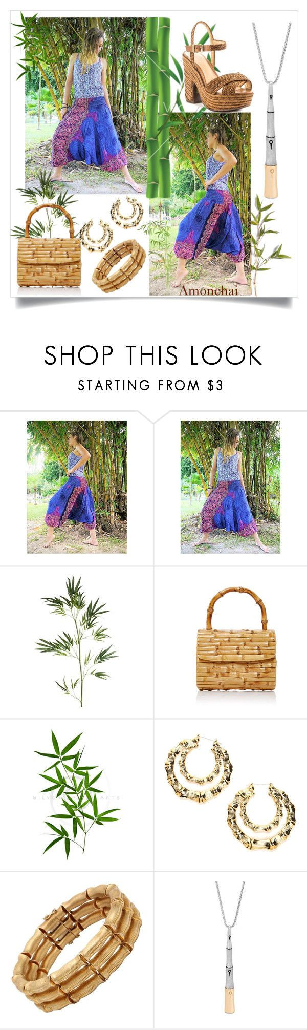 Wear to your next holiday destination. Aruba, Hawaii, Thailand, Australia, Florida! Dress with Nature. Bamboo accessories is a good match with purple and pink floral Harem pants.  Harem pants by Amonchai www.amonchai.com  #travel #earth #bamboo #jumpsuit #holiday #summer #beach #thailand #harempants #etsy #accessories #polyvore #amonchai #women #girly #cute #purple #floral #pink #flower  Bamboo by amonchai on Polyvore featuring Schutz, Glorinha Paranagua, John Hardy and Pier 1 Imports