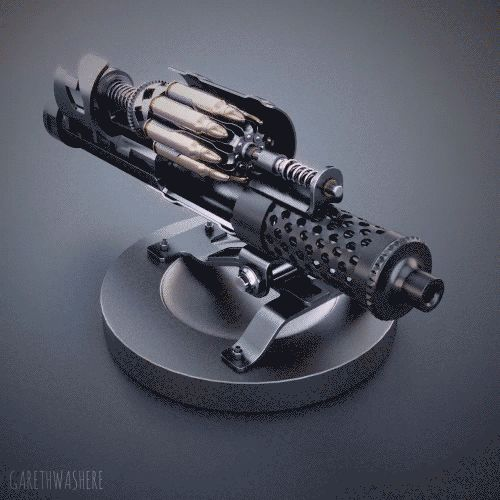 "ROTARY_CLIP // yeah, I'm calling it a ""clip"", as the spring mechanism, and indeed all the mechanical wherewithal needed to advance the next round, isn't integral to the magazine and is in fact part of the ""receiver"" or whatever. This is designed more..."