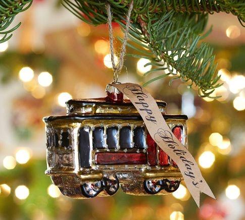 Cable Car Glass Ornament Pottery Barn Glass Ornaments