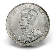 """George V (1911-1936) Grandfather of Her Majesty Queen Elizabeth II, his effigy appeared on Canadian coins from 1911-1936. His effigy is surrounded by the Latin inscription GEORGIVS V DEI GRA:REX ET IND:IMP:. The inscription means """"George V, by the grace of God, the King and Emperor of India."""" For part of 1911, coins did not include the DEI GRA part of the inscription and became known among coin collectors as the """"Godless"""" coins."""