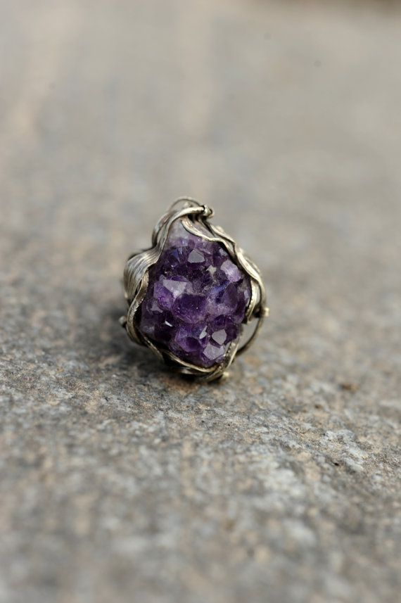Geode ametista anello anello Druzy ametista grezzo cristallo