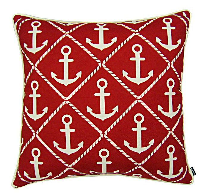 A fun, modern nautical pillow with a diamond pattern of white anchors and ropes perfect for fall!