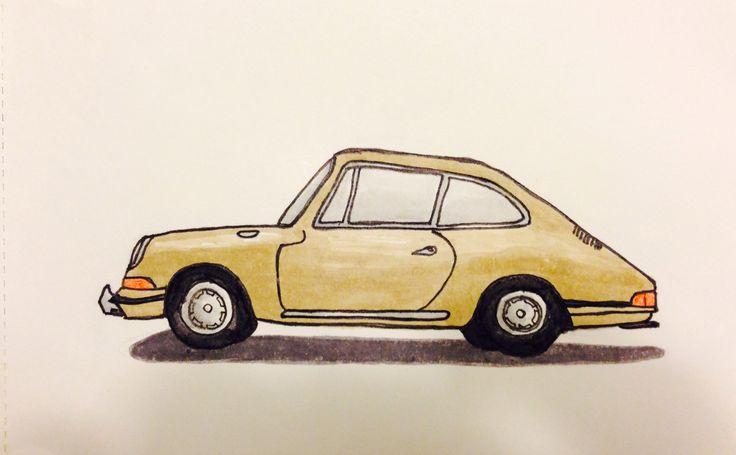 Retro Porsche 911 illustration, fineliner and promarkers.
