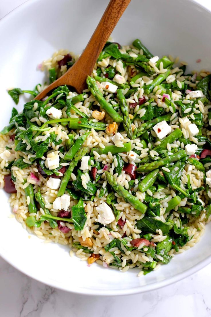 Orzo Salad With Asparagus And Spinach