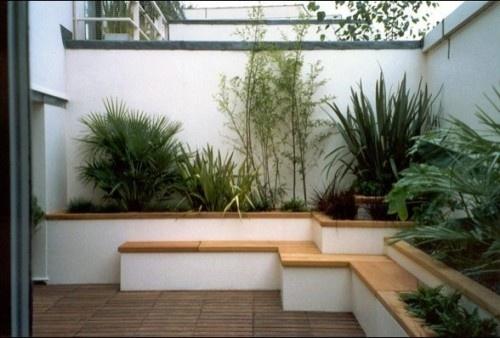 bench, planter, wall