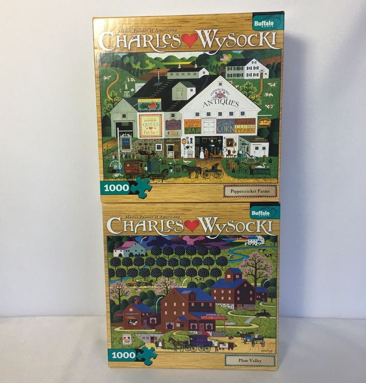 2 Buffalo Charles Wysocki Puzzle 1000 PC Peppercricket Farm Plum Valley Jigsaw #Buffalo