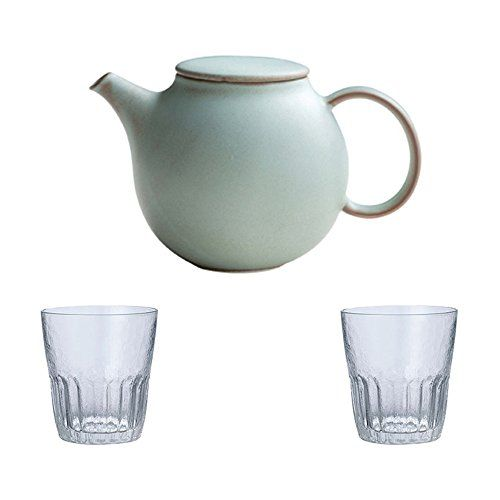 Kinto Pebble Moss Green Porcelain Teapot And Two 200ml Dew Clear