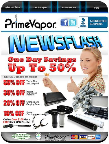 E-Cigarette One Day Sale. PrimeVapor has once again offered the best electronic cigarettes at incredible low prices.   Try our latest e-cig models and e-liquid flavors at www.e-cigarilicious.com