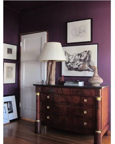 Black and white #customframed #art against a deep purple background, as seen in @ELLEDECOR is STUNNING!: Purple Room, Wall Color, Living Room, Bedroom Colors, Colorful Bedrooms, Decorating Bedrooms, Master Bedrooms, Chandos Bedrooms, Purple Wall