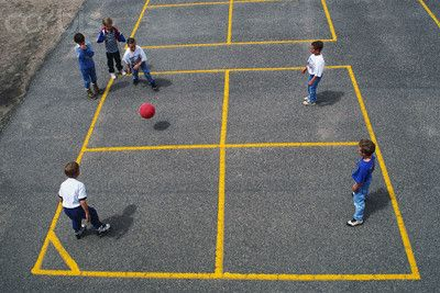 playing four square at recess, being in square one making rules! Michael will like this