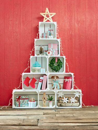 Christmas Bucket List Ideas - Make a Crate Tree! I love this, if I had a bunch of crates, I would totally do this!