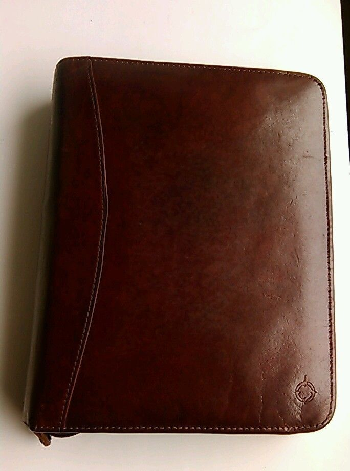 Franklin covey leather daily planner organizer card holder for Franklin covey business card holder