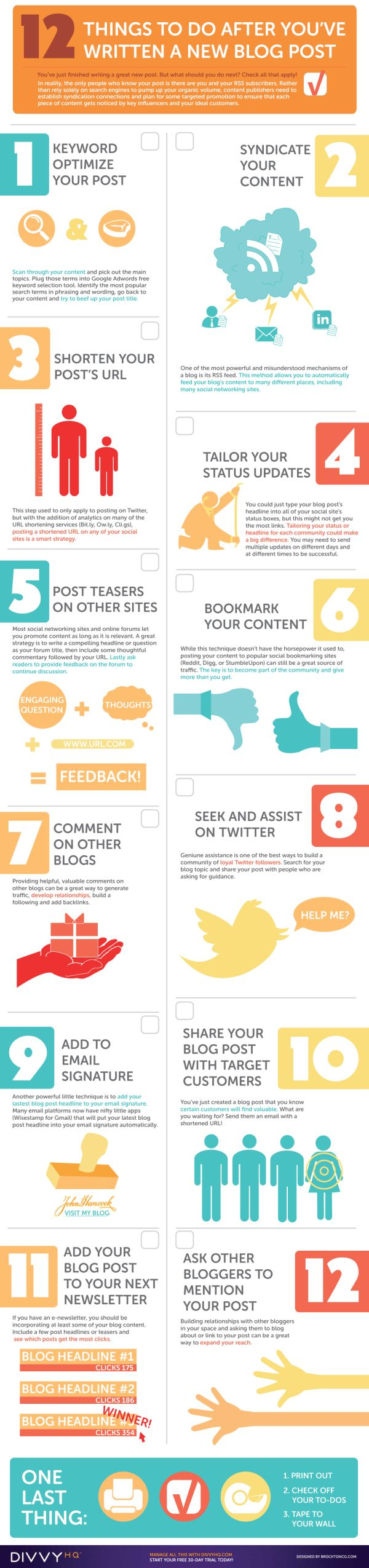 12 Things To Do After You've Written A New Blog Post infographic