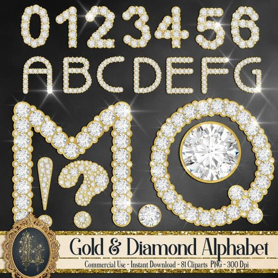 81 Gold And Diamond Alphabet Number Symbol Clip Arts Not Etsy Clip Art Gold Letters New Year Card