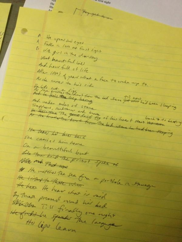 "First Josh Ritter song I fell in love with.  Josh Ritter handwritten draft of ""The Curse"" (Twitter @joshritter)"