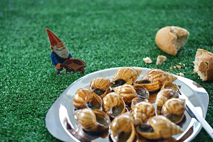 Escargot in grass.  Orbit restaurant. Luna2 studiotel, bali. #Lunafood  #food #escargot #fun #gnome #cosmic